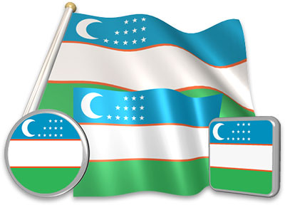 Uzbekistani flag animated gif collection