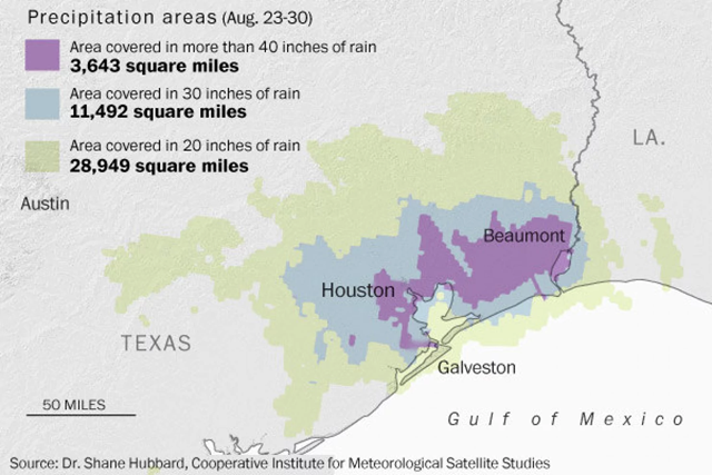 Precipitation areas in Southeast Texas, 23 August 2017 - 30 August 2017. Graphic: Dr. Shane Hubbard / Cooperative Institute for Meteorological Satellite Studies