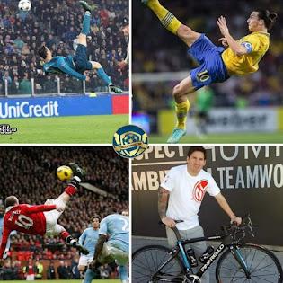 Fußball-Fahrradkick: Zlatan, Ronaldo, Rooney, Messi-Fahrrad