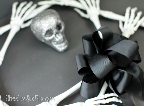Black grosgrain ribbon bow on halloween wreath