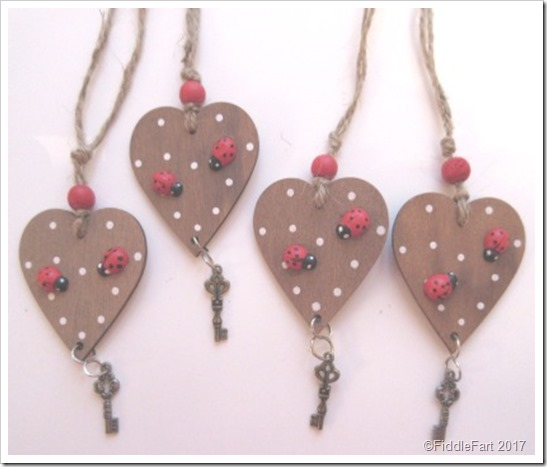 Ladybird Wooden hearts tags with key New Home Tag
