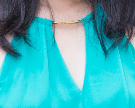 close-up photo of the dress neckline