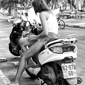 No One Can Stop Her by Michael Summers - People Street & Candids ( bike, motor bike, candid, tattoo, street photography )