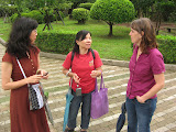 Angie chatting with friends at Chiang Kai-shek Memorial Hall
