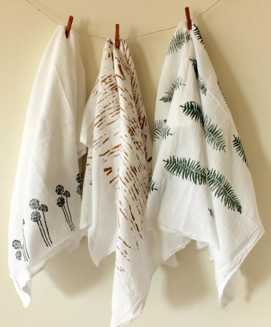 nature inspired tea towels
