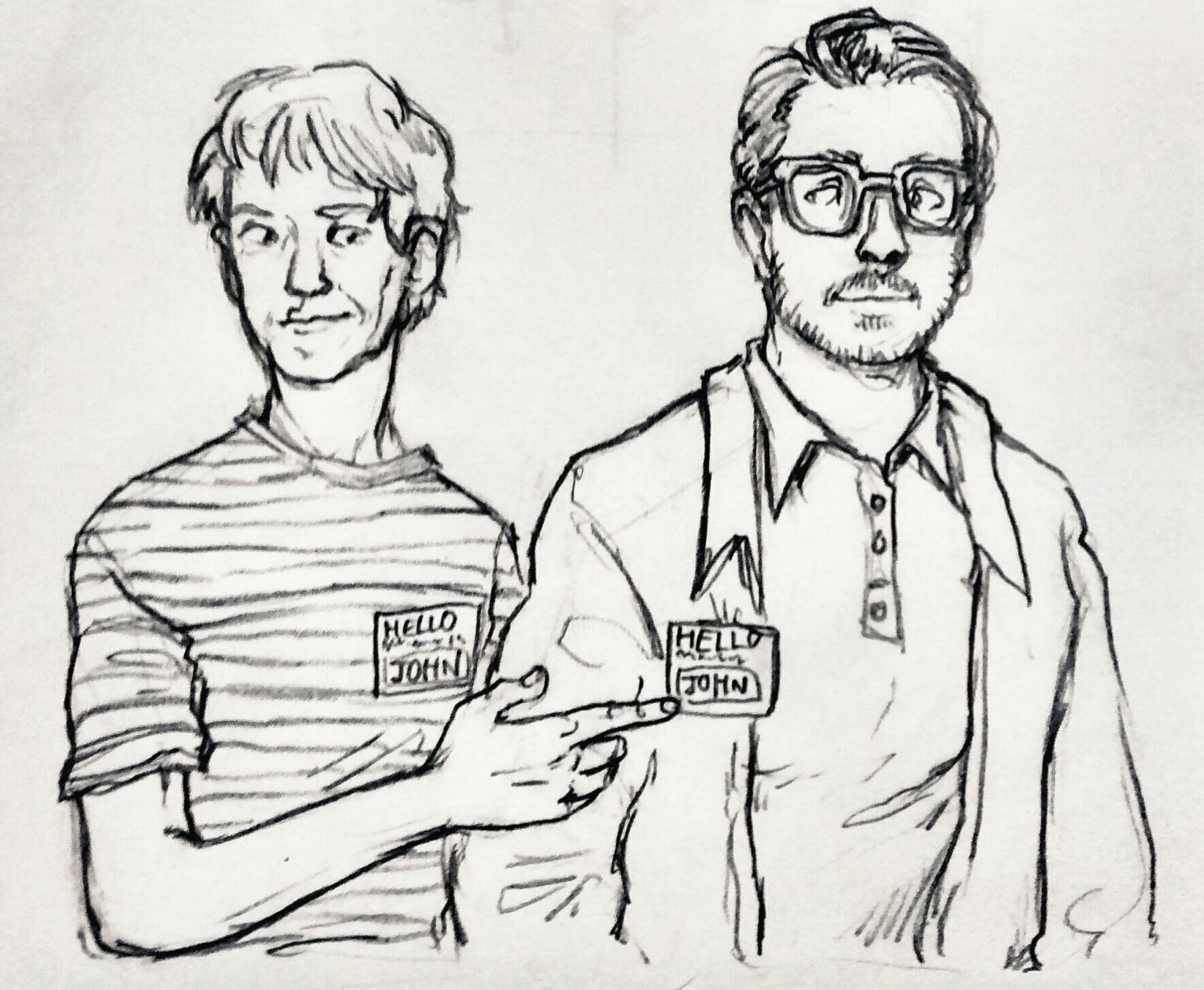 My very first drawing of John and John