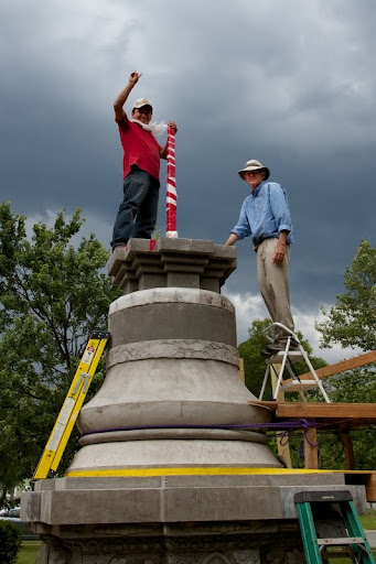 A filled, blessed and sealed stupa minutes before rainstorm, Kadampa Center, Raleigh, North Carolina, US, May 2012. A copper steeple arriving from Nepal will be added on top.
