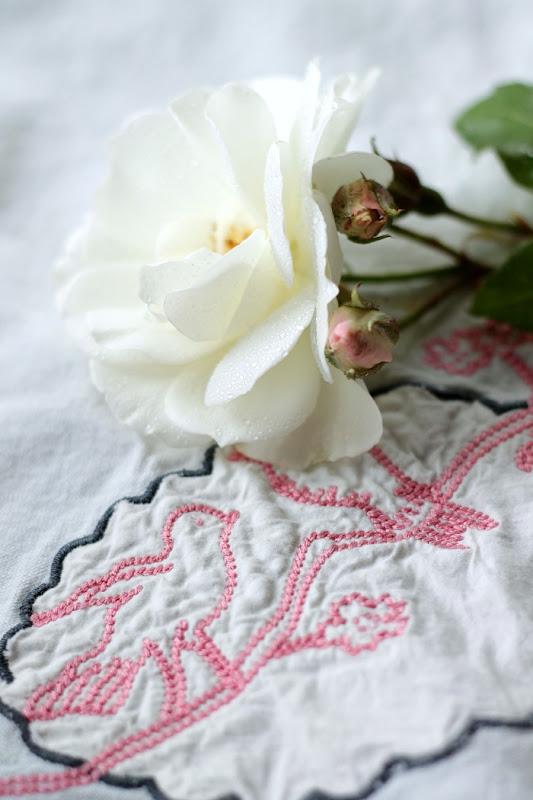 Vintage Keepsakes White Rose Pink Embroidered Linen