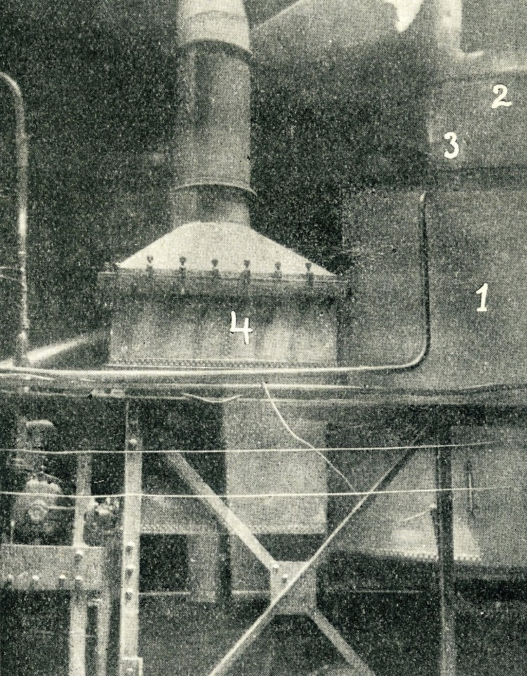 25- 1-Generador. 2, distribuidor, 3 bote de grasa y 4 condensador. De la Revista General de Marina. Año 1922.jpg