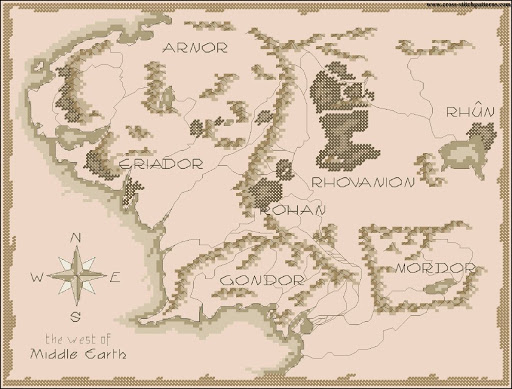 Lord of the Rings MAP  Counted cross stitch patterns and charts