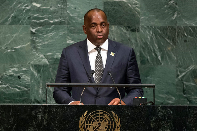 Prime Minister Roosevelt Skerrit of the Commonwealth of Dominica addresses the general debate of the General Assembly's seventy-second session, 23 September 2017. 'I come to you straight from the front line of the war on climate change.' Photo: Cia Pak / UN Photo
