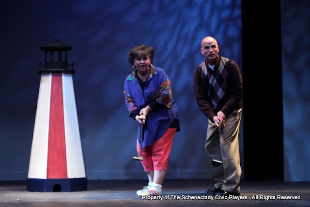 """Susan Katz and Marty O'Connor in """"Foreplay: Or the Art of the Fugue"""" as part of THE IVES HAVE IT - January/February 2012.  Property of The Schenectady Civic Players Theater Archive."""