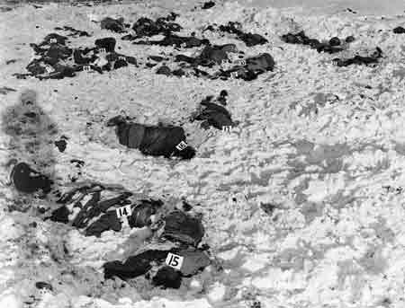 Dead bodies of American POW's are marked and then identified by US Army personnel in Malmédy, Belgium.