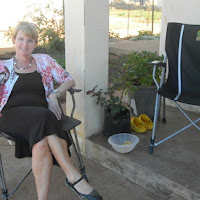 Tish relaxing on the porch at Chuck and Mary's