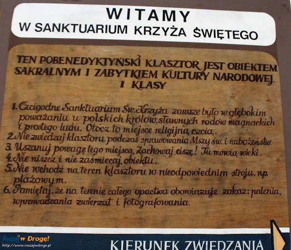 Klasztor Święty Krzyż - regulamin zwiedzania