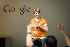 Caroline de Cock speaks to the hackers during EUhackathon 2014 at Googleplex in Brussels, Belgium on 02.12.2014