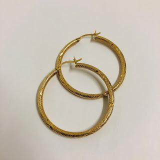 14K Gold Etched Hoop Earrings