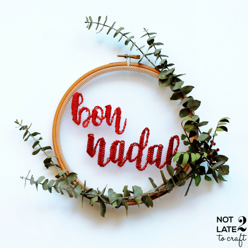 Not 2 late to craft: Bon Nadal DIY! Brodat sobre tul i llibreta personalitzada amb segells / Merry DIY Christmas! Tulle embroidery hoop and customized notebook