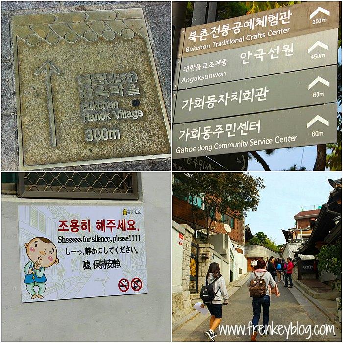 Arah ke Bukchon Hanok Village dan Peringatan agar jangan Berisik!