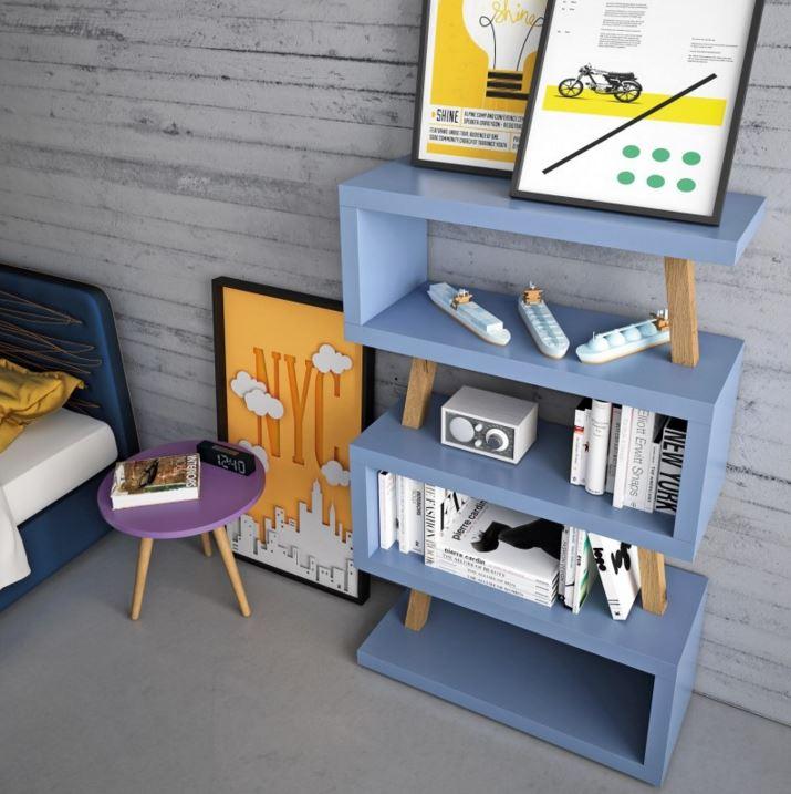 libreria Snake con supporti in legno massello.JPG