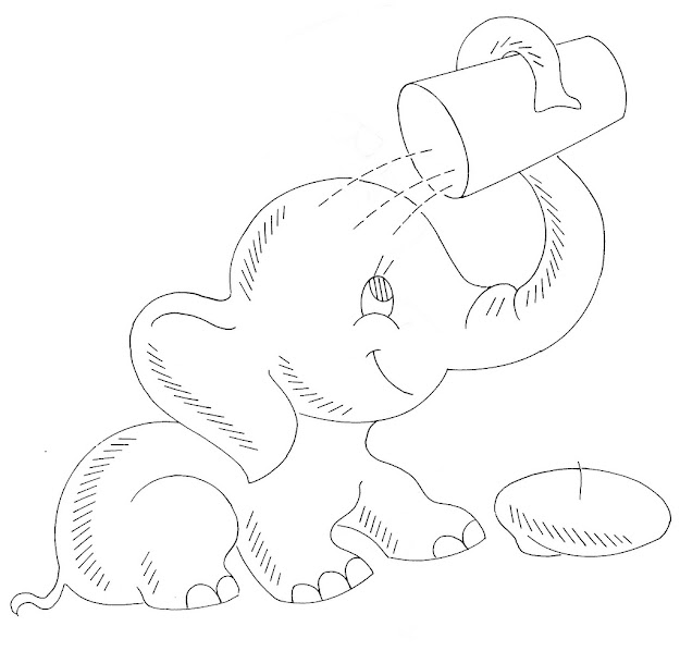 Baby Elephant Drinking Coloring Pages