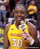 Nneka Ogwumike #30 matched her uniform number in points as her new career high during her spectacular rookie season. (WNBA: Los Angeles Sparks 86 vs. Chicago Sky 77, Staples Center, Los Angeles, CA. September 14, 2012.)