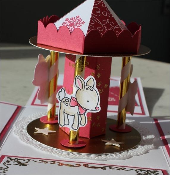 Explosion Box Weihnachten Christmas Gold Glitzer Karussell Stampin Up Zum Nachwuchs Weihnachtsschlitten 10