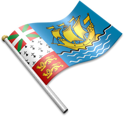 The Saint-Pierrais or Miquelonnais flag on a flagpole clipart image