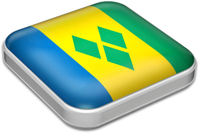 Flag of Saint Vincent and the Grenadines with metallic square frame