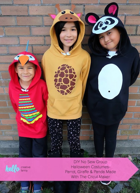 DIY-No-Sew-Group-Halloween-Costumes-Parrot-Giraffe-Panda-Made-With-The-Cricut-Maker-1-745x1024