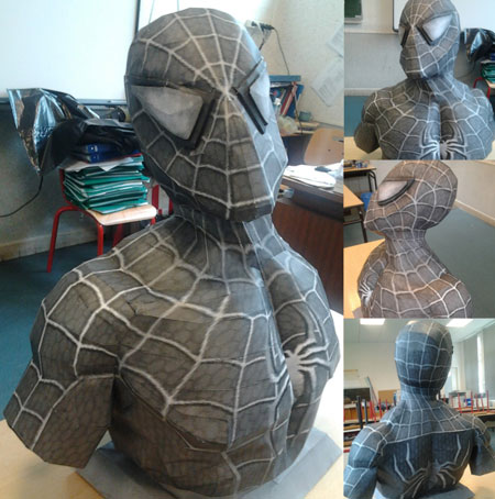 Black Suit SpiderMan Papercraft Bust