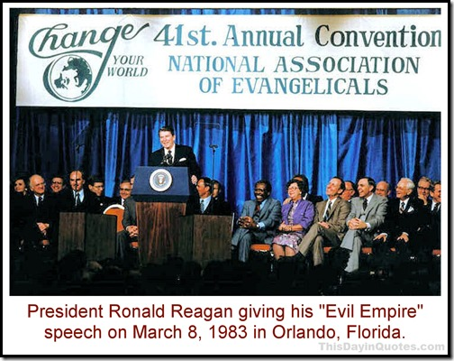 Ronald Reagan giving his evil empire speech 1983