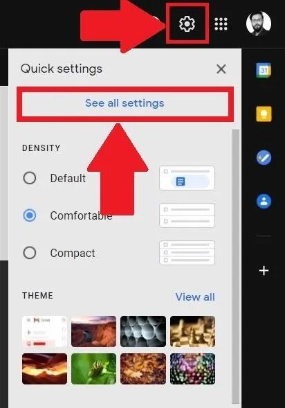 اختصارات لوحة المفاتيح إعدادات Gmail