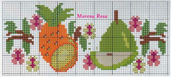 Tre schemi punto croce per asciugamani con frutta esotica