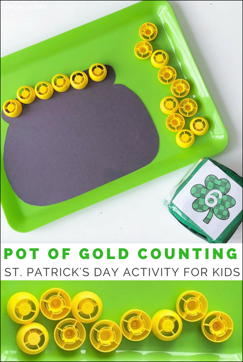 """Practice counting with this fun hands on engaging activity perfect for St. Patrick's Day. Kids will identify numbers and then use pouch caps to count that the number of """"gold"""" to add to their pot."""
