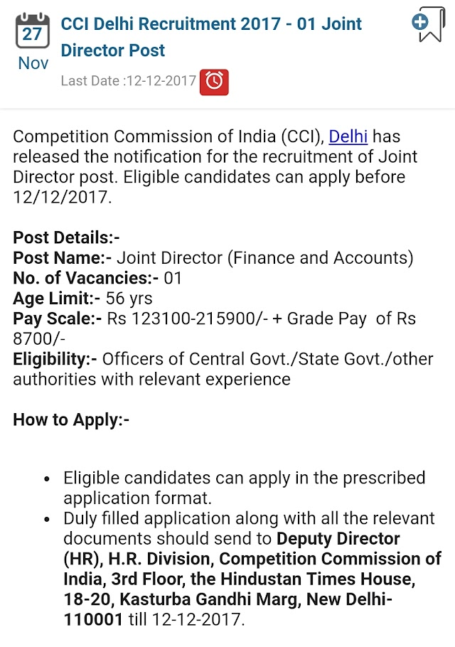 post of Joint director finance and account