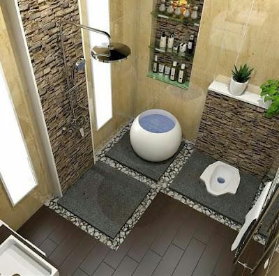 Model batu alam kamar mandi hitam