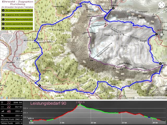 Rundstrecke Plan Map Zugspitze Ehrwalder Alm Tirol Ehrwald