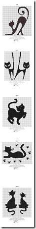 siluetas gatos punto de cruz monocromo  (24)
