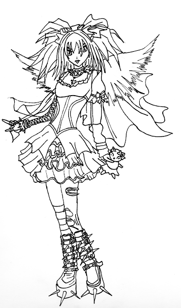 Gothic Angel Coloring Pages