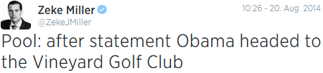 after statement Obama headed to the Vineyard Golf Club
