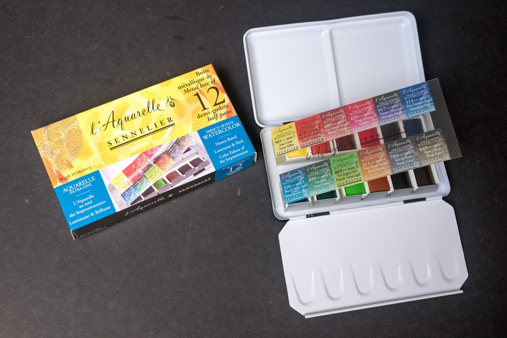 Sennelier 12 half pan watercolour set