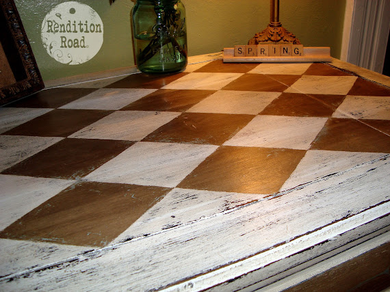 Harlequin table makeover