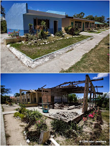 Two photos, a before and after of a destroyed and rebuilt building