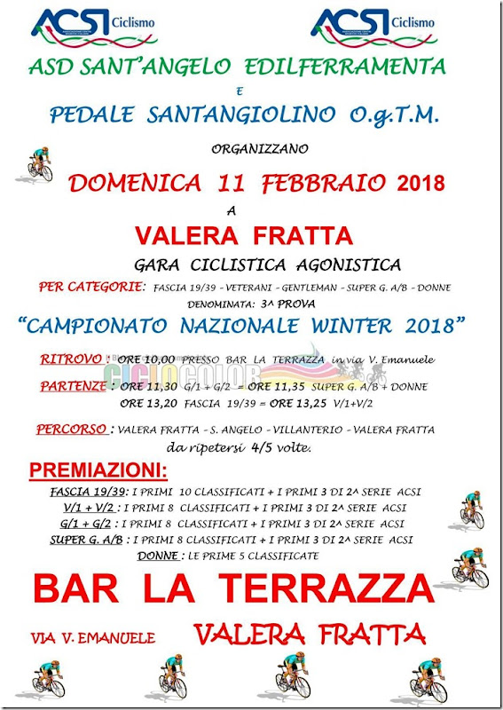 2018-02-11 ACSI - Strada 3ª prova Campionato Nazionale Winter 2018 a Valera Fratta (LO) - Lombardia