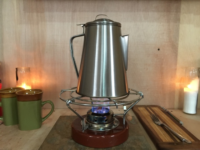 tiny house interior, coffee percolator