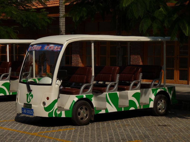 Some mini electric bus around island, a fews for police and hospital, NO BYCICLES at all