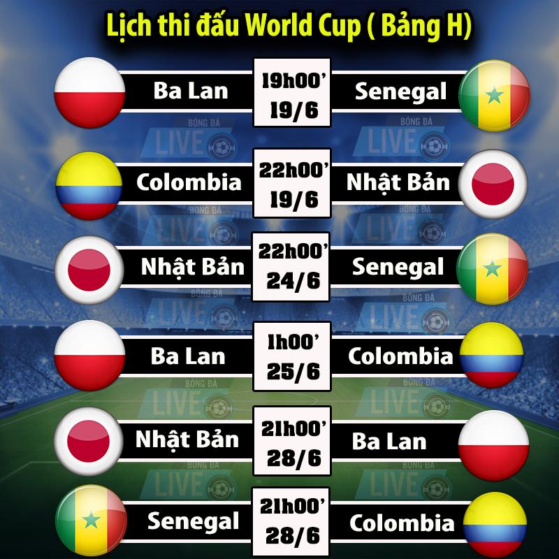 Lịch thi đấu World Cup 2018 - Bảng H