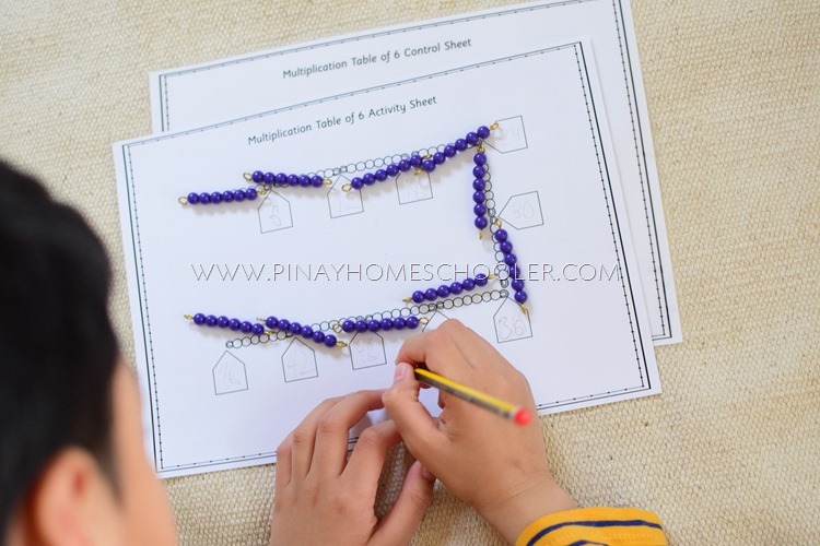 Learning Montessori Multiplication Table Using Bead Chains