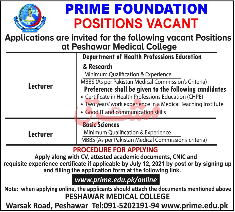 Prime Foundation Peshawar Jobs 2021
